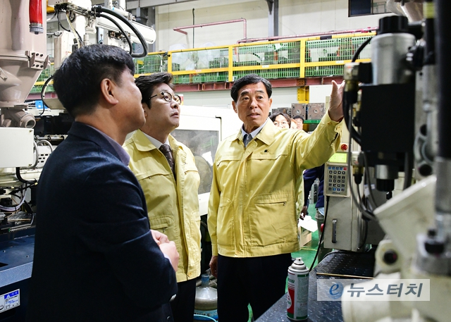 윤화섭 안산시장, 조명래 환경부장관-미세먼지 방지시설 설치 사업장 방문